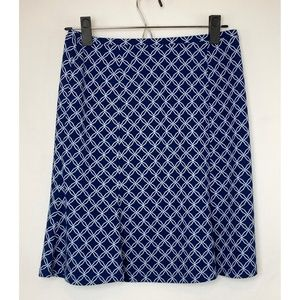 NWOT EXPRESS Geometric Print Navy A-line Skirt!